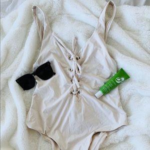 Zara Off White One-piece Smwimsuit